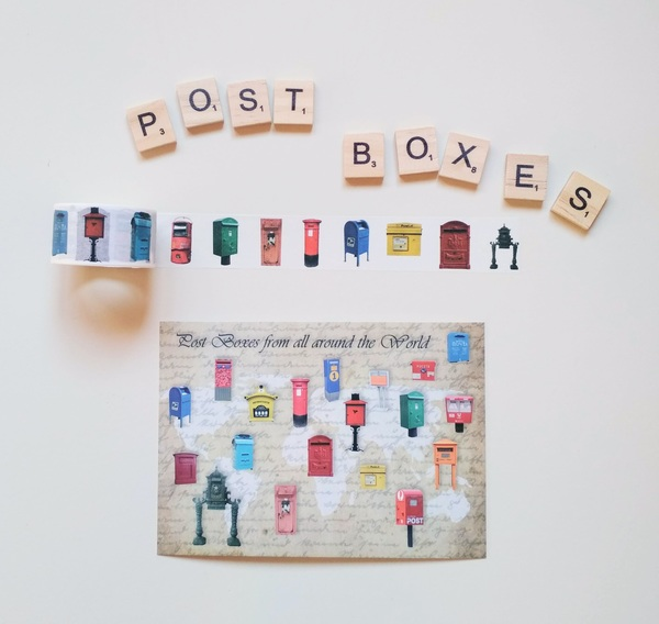 Post boxes washi postcard