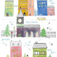 Házak - karácsonyi képeslap