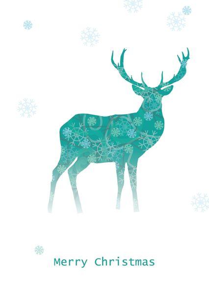 Red deer snowflake postcard il101c