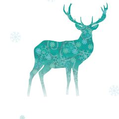 Snowy red deer - Postcard