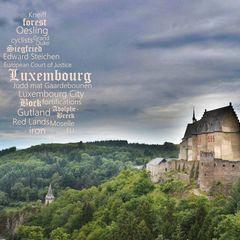 Greetings from Luxembourg - Wortwolke Postkarte