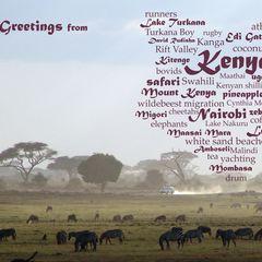 Greetings from Kenya - Wortwolke Postkarte
