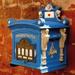 Blue Postbox Postcard