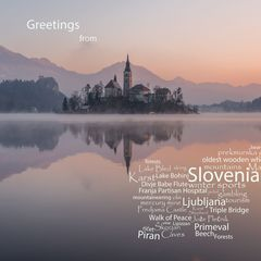 Greetings from Slovenia - WordCloud Postcard