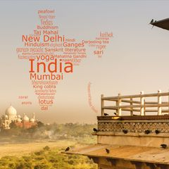 Greetings from India - Word Cloud Postcard