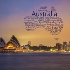 Greetings from Australia - Word Cloud Postcard