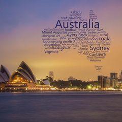 Greetings from Australia - Word Cloud Postcard