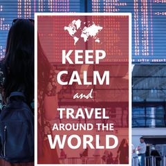 Keep Calm and Travel around the World - Postcard