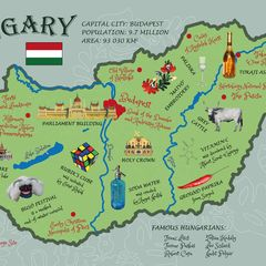 Illustrated Map of Hungary - Postcard