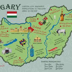 Illusztrációs Magyarország térkép - Képeslap