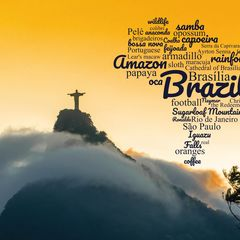 Greetings from Brazil - Word Cloud Postcard