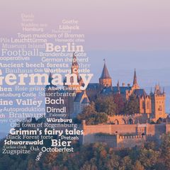 Greetings from Germany - Wordcloud Postcard