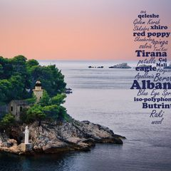 Greetings from Albania - Word Cloud Postcard