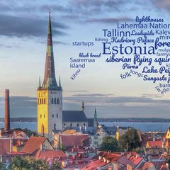 Greetings from Estonia - Word Cloud Postcard