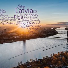 Greetings from Latvia - Word Cloud Postcard