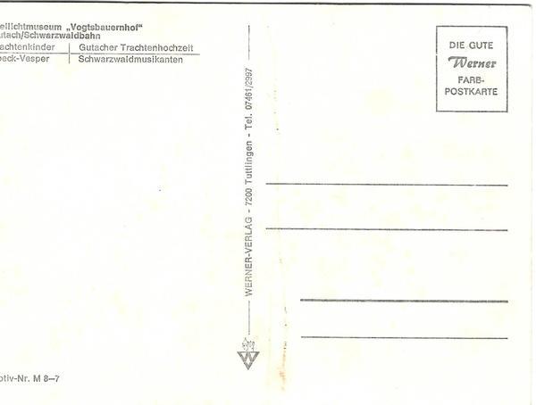 Schwarzwald old postcard back