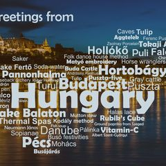 Greetings from Hungary - Wordcloud Postcard