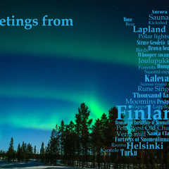 Greetings from Finland- Wortwolke Postkarte