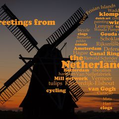 Greetings from the Netherlands - Wortwolken Postkarte