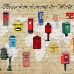 Post Boxes from all around the World - Képeslap