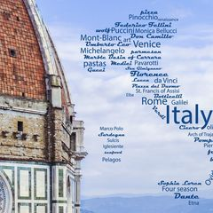 Greetings from Italy - Wordcloud Postcard