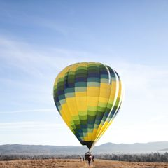 """Yellow-Blue Hot Air Balloon"" Postcard"