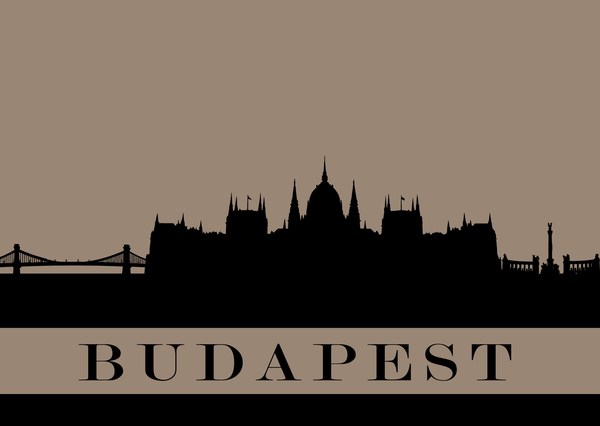 City silhouette postcard budapest kc11