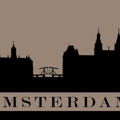 """Amsterdam"" City Silhouette Postcard"