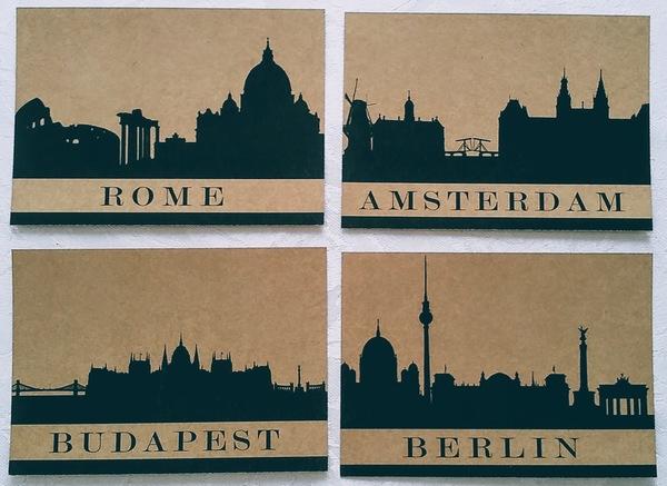 City silhouette postcards postcardsisters