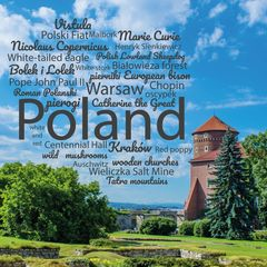 Greetings from Poland - Wordcloud Postcard