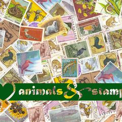 """I love animals"" Stamp Postcard"