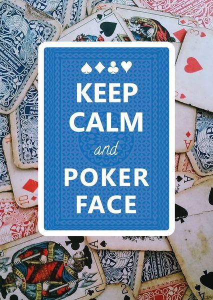 Keep calm poker face postcardsisters ke102c