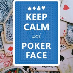"""""""Keep Calm and Poker Face"""" képeslap"""