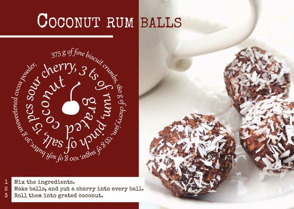Coconut rum balls recipe postcard ga117c
