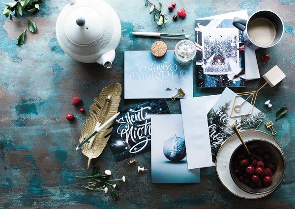 Christmas postcard writing coffee cm120c