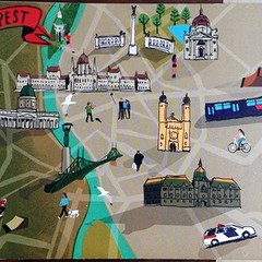 Budapest Map Postcard