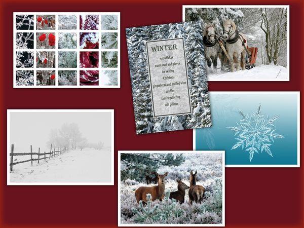 Winter 6 pcs postcards bundle pack16c