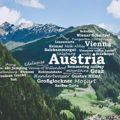 Greetings from Austria - Wordcloud Postcard