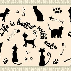 """Life is better with cats"" Postkarte"