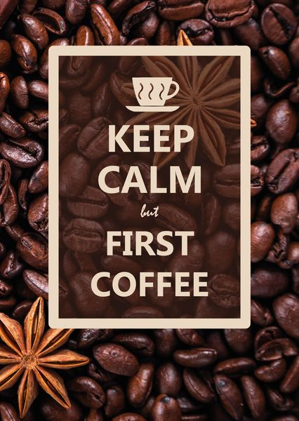 Keep calm but first coffee postcard ke104c