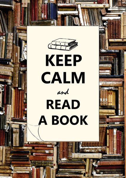 Keep calm and read a book postcard ke107c