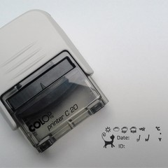 Postcard ID Printer with a Black Cat Motif and Weather Icons