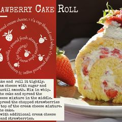 Strawberry Cake Roll - Recipe Postcard