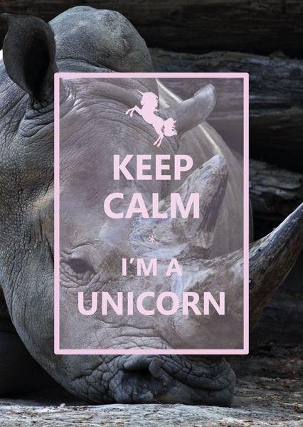 Keep calm im a unicorn postcard ke112c