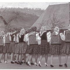 Girls Walking on the Main Street - Oversized Art Postcard