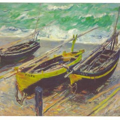Monet: Three Fishing Boats - Oversized Art Postcard