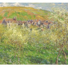 Monet: Plum Trees in Blossom - Oversized Art Postcard