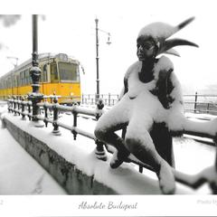 Yellow Tram and Sculpture - Postcard