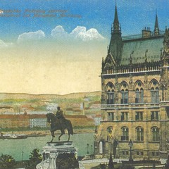 Parliament Building with the statue of Andrássy - Budapest postcard