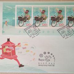 Ungarisches Postcrossing Briefmarkenblatt FDC
